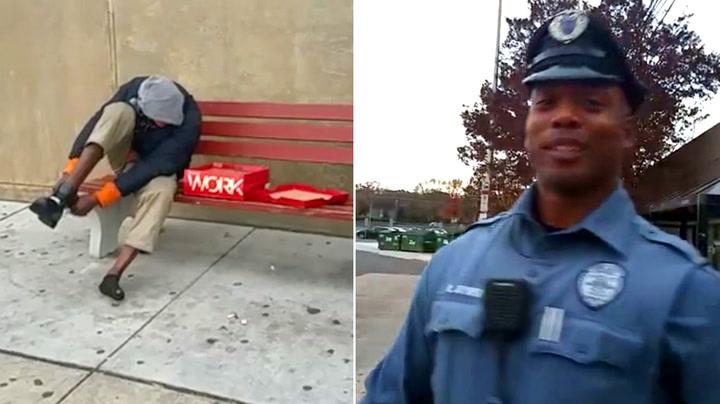 Godhjertet politimann med uventet gest til hjemløs