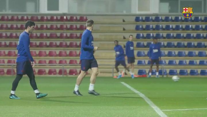 El Barça se entrena por última vez antes de viajar a Madrid