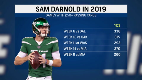 What are the odds on Sam Darnold's passing yards in Week 2?