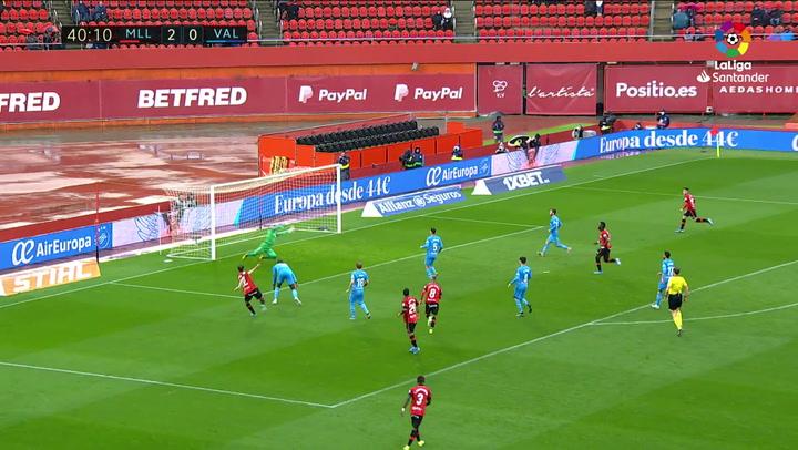 Gol de Budimir (3-0) en el Mallorca 4-1 Valencia