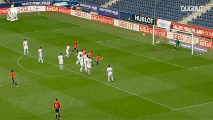 David Silva's perfect free-kick goal for Spain