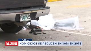 HOMICIDIOS SE REDUCEN EN 10% EN 2018