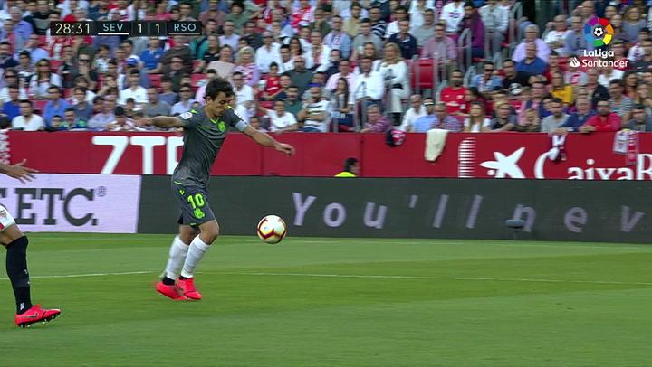 LaLiga: Sevilla-Real Sociedad. Gol de Oyarzabal (1-1)