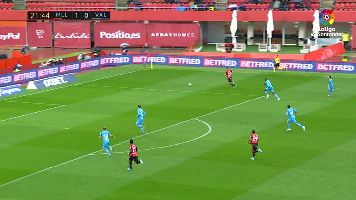 Gol de Budimir (2-0) en el Mallorca 4-1 Valencia