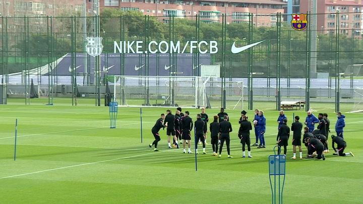 Entrenamiento del Barça de cara al partido de la Champions contra la Juve