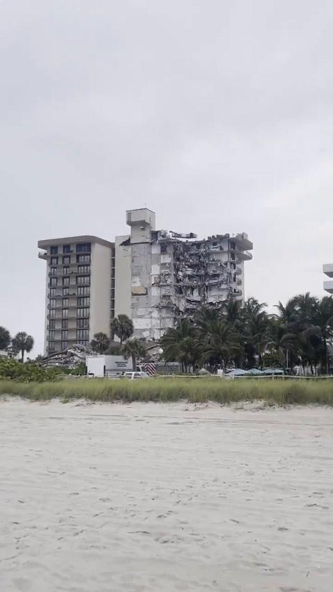 Así quedó la parte más afectada del edificio que se desplomó en Miami Beach