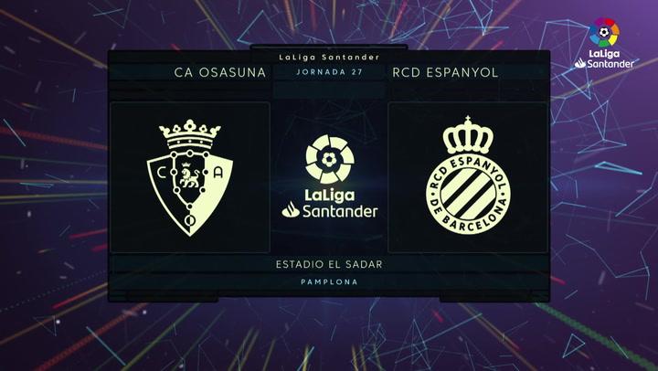 LaLiga (J27): Resumen y gol del Osasuna 1-0 Espanyol