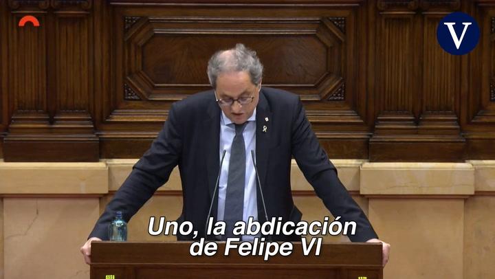 Torra ve como solución para España la abdicación de Felipe Vl