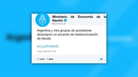 Argentina anuncia acuerdo con acreedores para canje de deuda