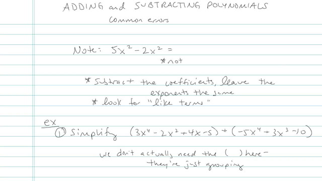 Adding and Subtracting Polynomials - Problem 4