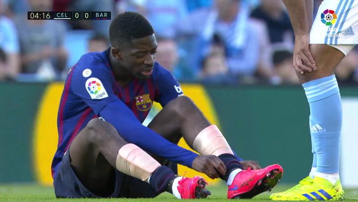 LaLiga: Celta - Barça. Lesión de Ousmane Dembélé y debut de Álex Collado