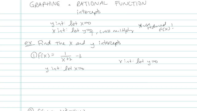 Graphing a Rational Expression - Problem 7