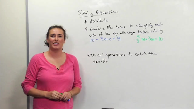 Solving Equations- two variable terms