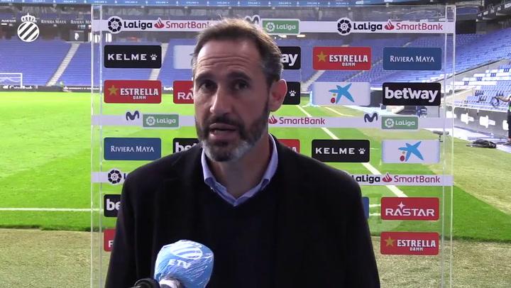 Vicente Moreno, contento por el triunfo sobre el Mirandés