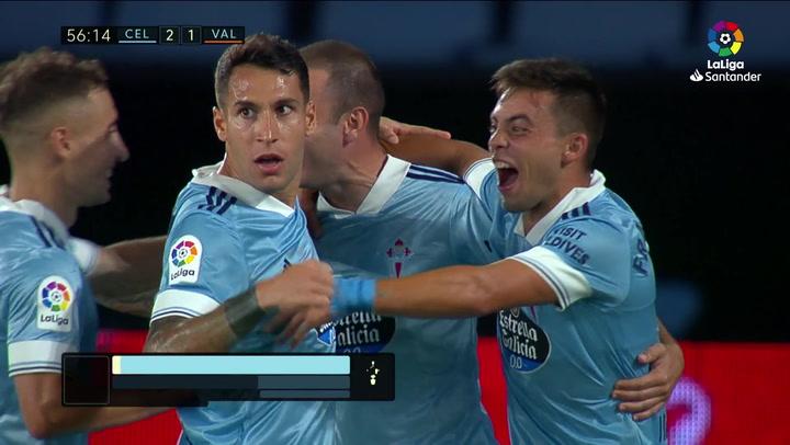 Gol de Iago Aspas (2-1) en el Celta 2-1 Valencia