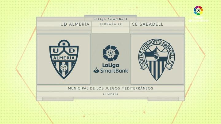 LaLiga SmartBank (J22): Resumen y goles del Almería 2-2 Sabadell