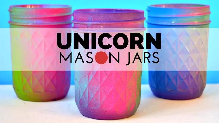 Spray Painted Unicorn Mason Jars Mad In Crafts