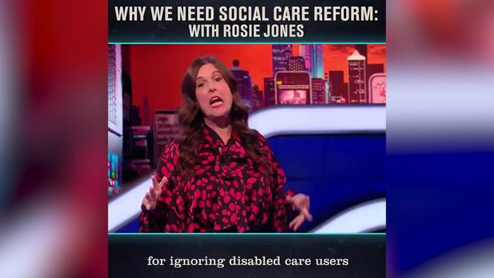 Comedian Rosie Jones criticises government's social care plan