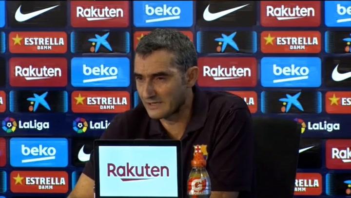 """Ernesto Valverde: """"Hay una pequeña diferencia entre el acta arbitral y lo que dijo Dembélé"""""""