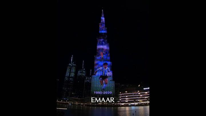 El Burj-Khalifa de Dubai, la torre más grande del mundo, tributa a Diego Maradona