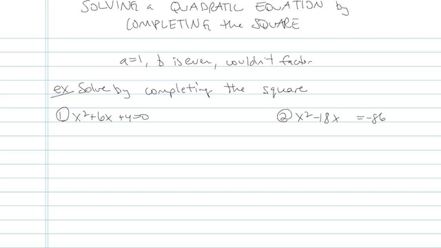 Solving a Quadratic by Completing the Square - Problem 5