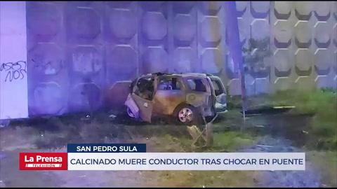 Calcinado muere conductor tras chocar en puente de San Pedro Sula