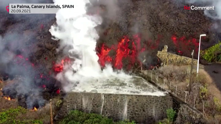 Lava from La Palma volcano boils pools, torches trees in dramatic footage