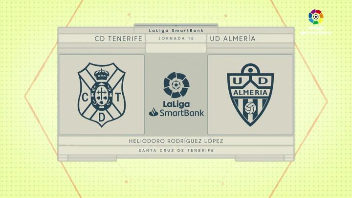 LaLiga SmartBank (J18): Resumen y goles del Tenerife 1-2 Almería