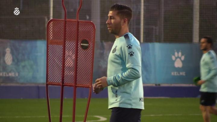 Primer entrenamiento de Embarba con el Espanyol