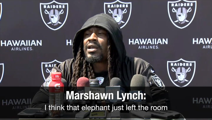 24de05f65a24c Marshawn Lynch responds to a question about not standing for the national  anthem