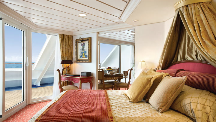 Get a glimpse of some of the most luxurious cruise ship cabins at sea.
