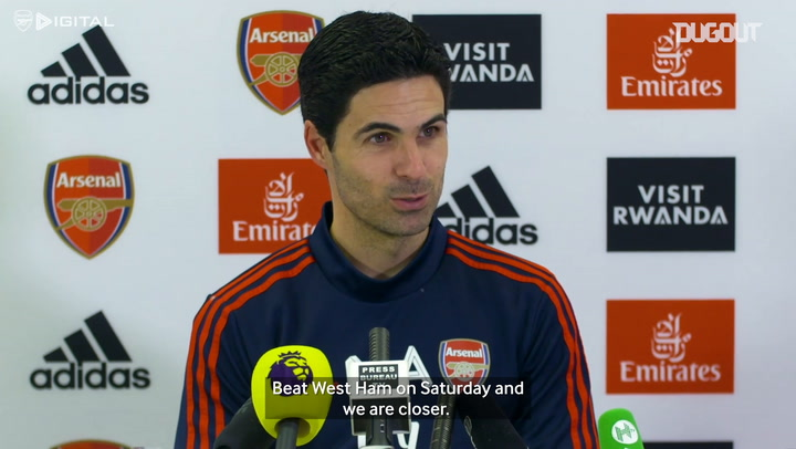 Mikel Arteta on hopes of securing a Champions League position