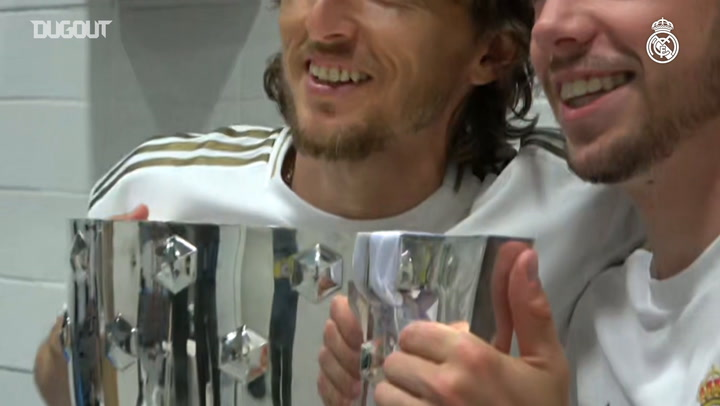 Real Madrid's dressing room celebrations after winning LaLiga - Dugout