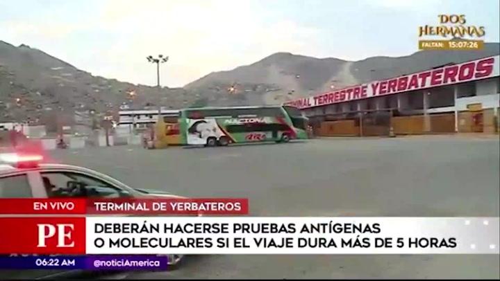Pasajeros de buses interprovinciales tendrán que hacerse pruebas moleculares o antígenas