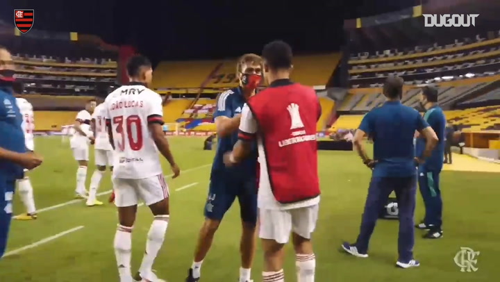 Flamengo's celebrations after beating Barcelona SC in Ecuardor