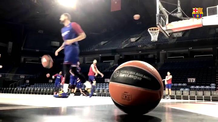 Entrenamiento del Barça de basket en el Sinan Erdem de Estambul