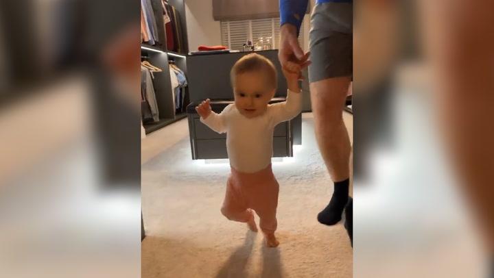 Ola and James Jordan \'coo\' over baby Ella walking