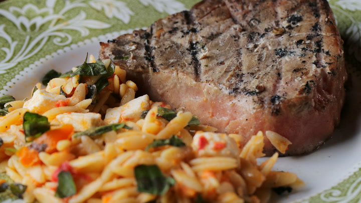 Grilled Tuna Steaks with Tomato-Basil Orzo | Video | Wine Spectator