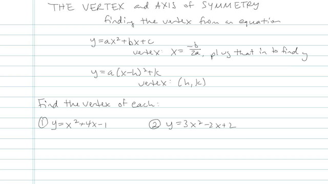 The Vertex and Axis of Symmetry - Problem 5