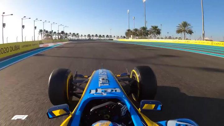 La espectacular vuelta de Alonso a los mandos del mítico R25 en Abu Dhabi