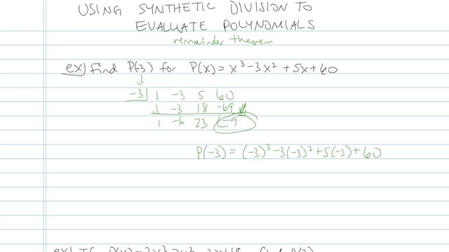 Using Synthetic Division to Evaluate Polynomials - Problem 3