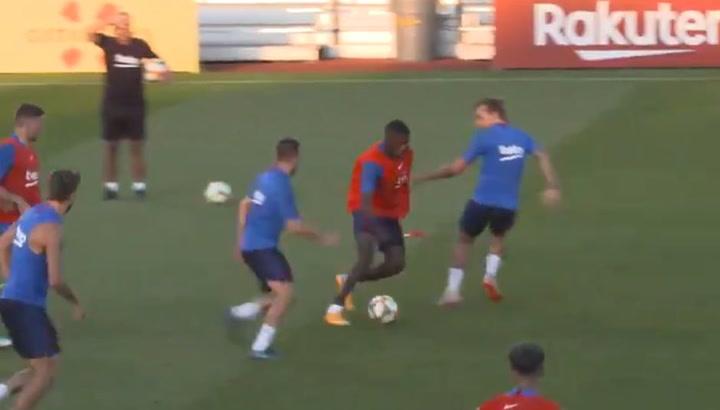 Dembélé  marca un golazo en el entrenamiento de Dallas