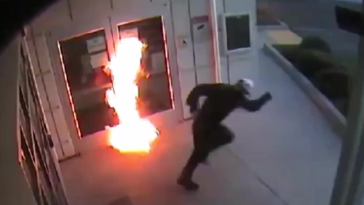 Arsonist narrowly misses catching alight as he sets San Diego college on fire