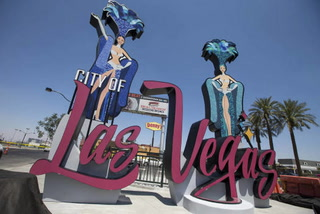 New downtown Las Vegas sign lights up entry into city