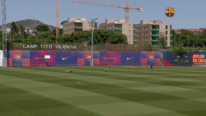 Entrenamiento del Barça previo al partido contra el Celta