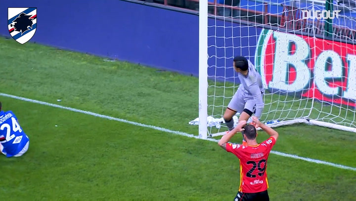 Audero's one handed save at full stretch against Moncini