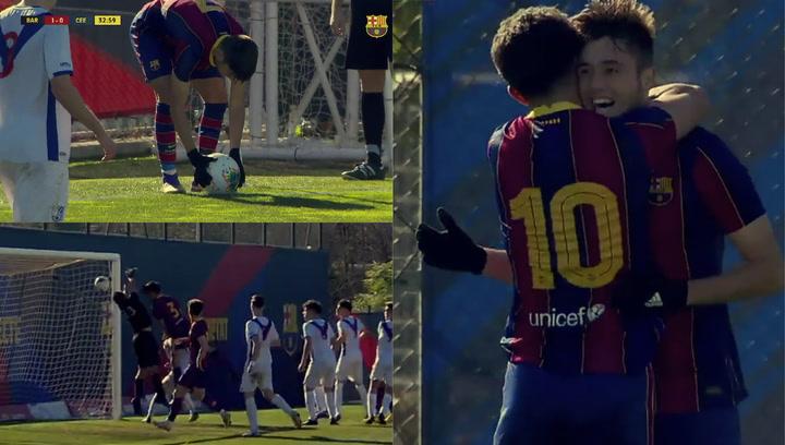 ¡Otro gol olímpico de un canterano! El juvenil Jaume Jardí imitó el golazo de Collado
