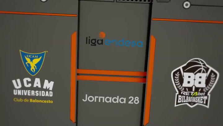 Resumen del UCAM Murcia - RETAbet Bilbao Basket (82-90) de la Liga Endesa