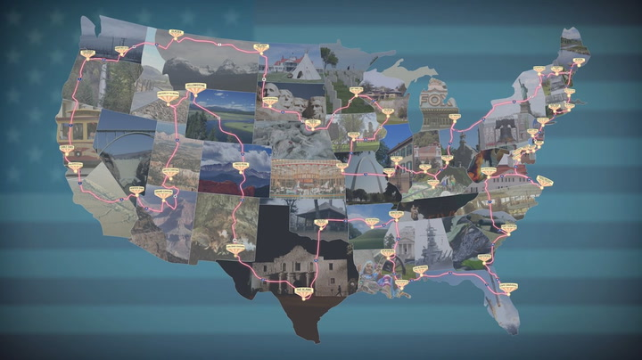 The shortest route for a road trip across the US to see 50 national landmarks