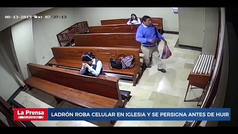 Ladrón roba celular en iglesia y se persigna antes de huir